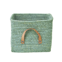 Mint Square Raffia Basket Leather Handles Rice DK